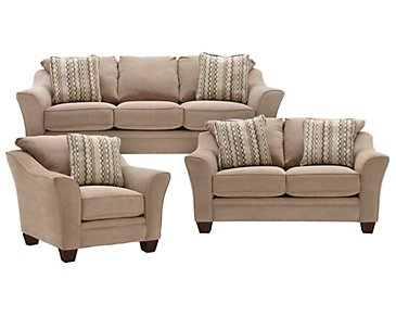 Grant2 Light Brown Microfiber Living Room