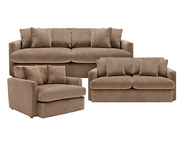 Tara2 Dark Taupe Microfiber Living Room