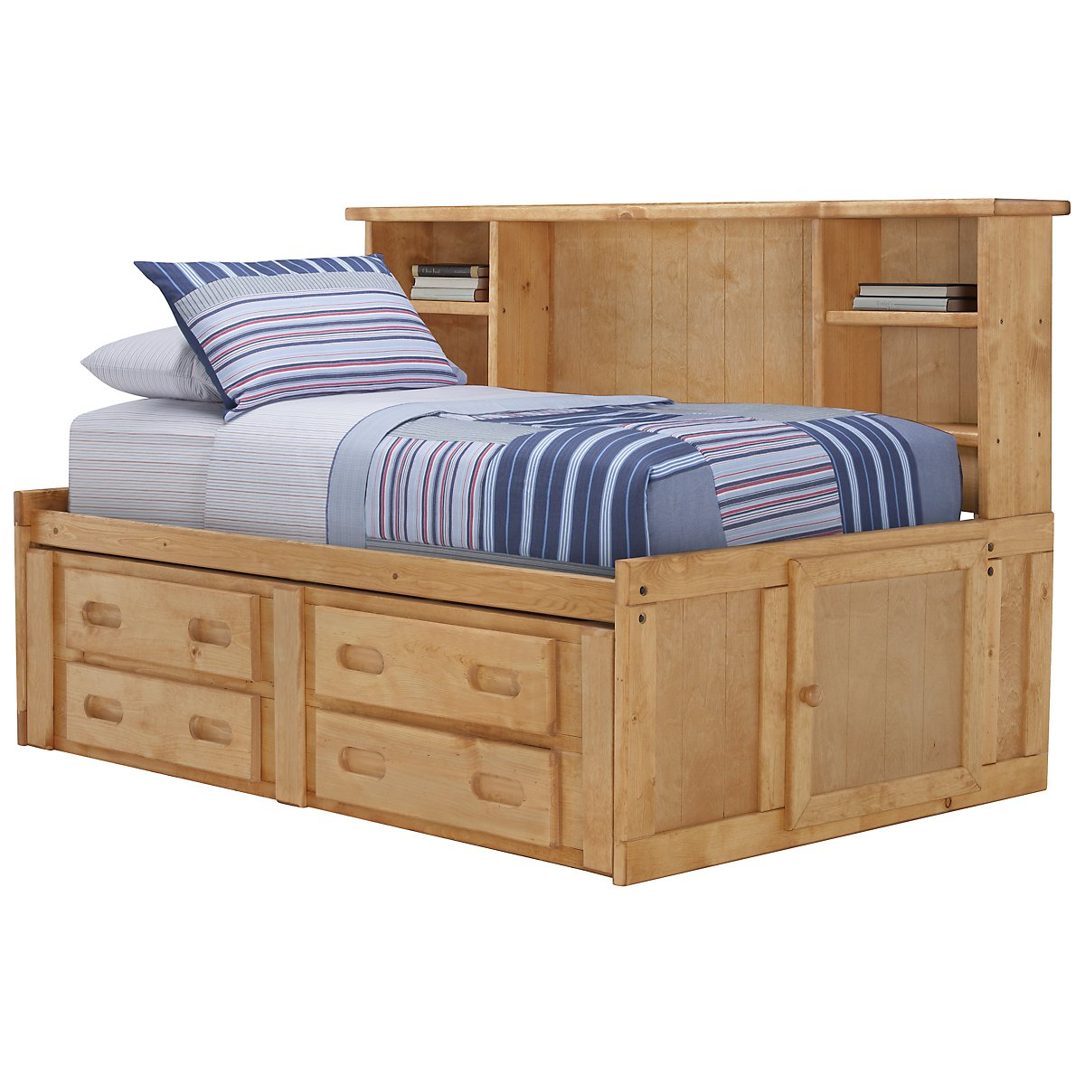 Day beds for teenagers - Cinnamon Mid Tone Storage Bookcase Daybed