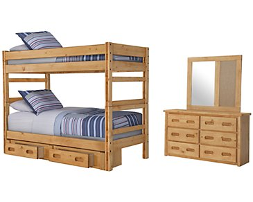 Cinnamon Mid Tone Bunk Bed Storage Bedroom