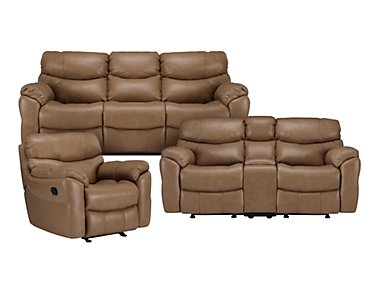 Derek Dark Taupe Leather & Vinyl Manually Reclining Living Room