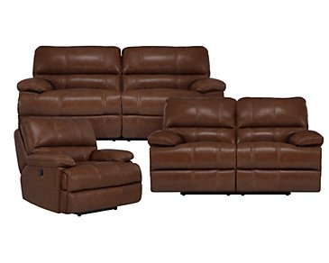 Alton2 Medium Brown Leather & Vinyl Manually Reclining Living Room