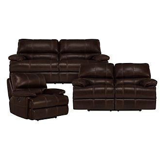 Alton2 Dk Brown Leather & Vinyl Manually Reclining Living Room
