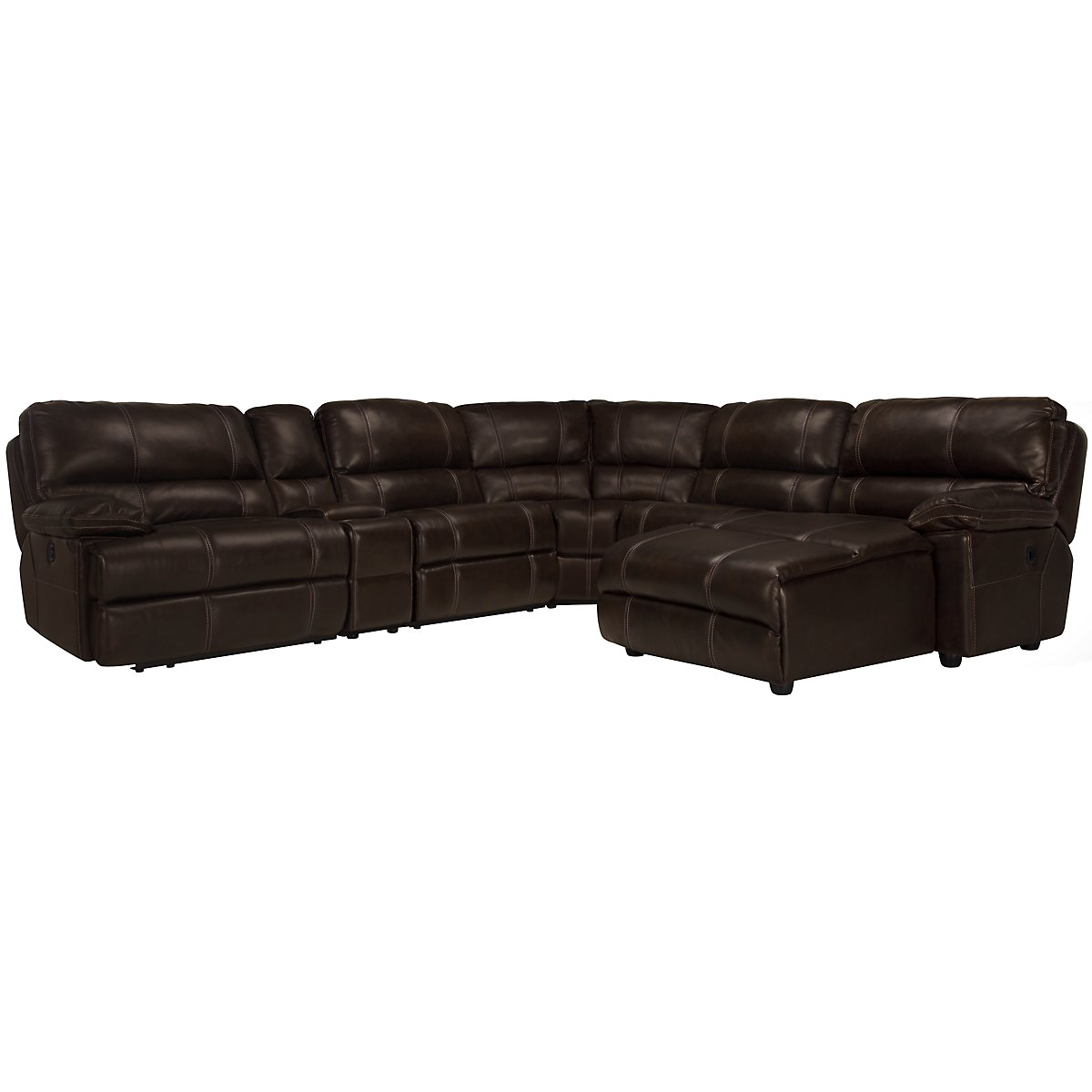 Alton2 Dk Brown Leather & Vinyl Right Chaise Manually Reclining Sectional