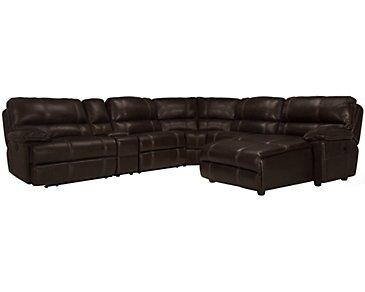 Alton2 Dark Brown Leather & Vinyl Right Chaise Manually Reclining Sectional