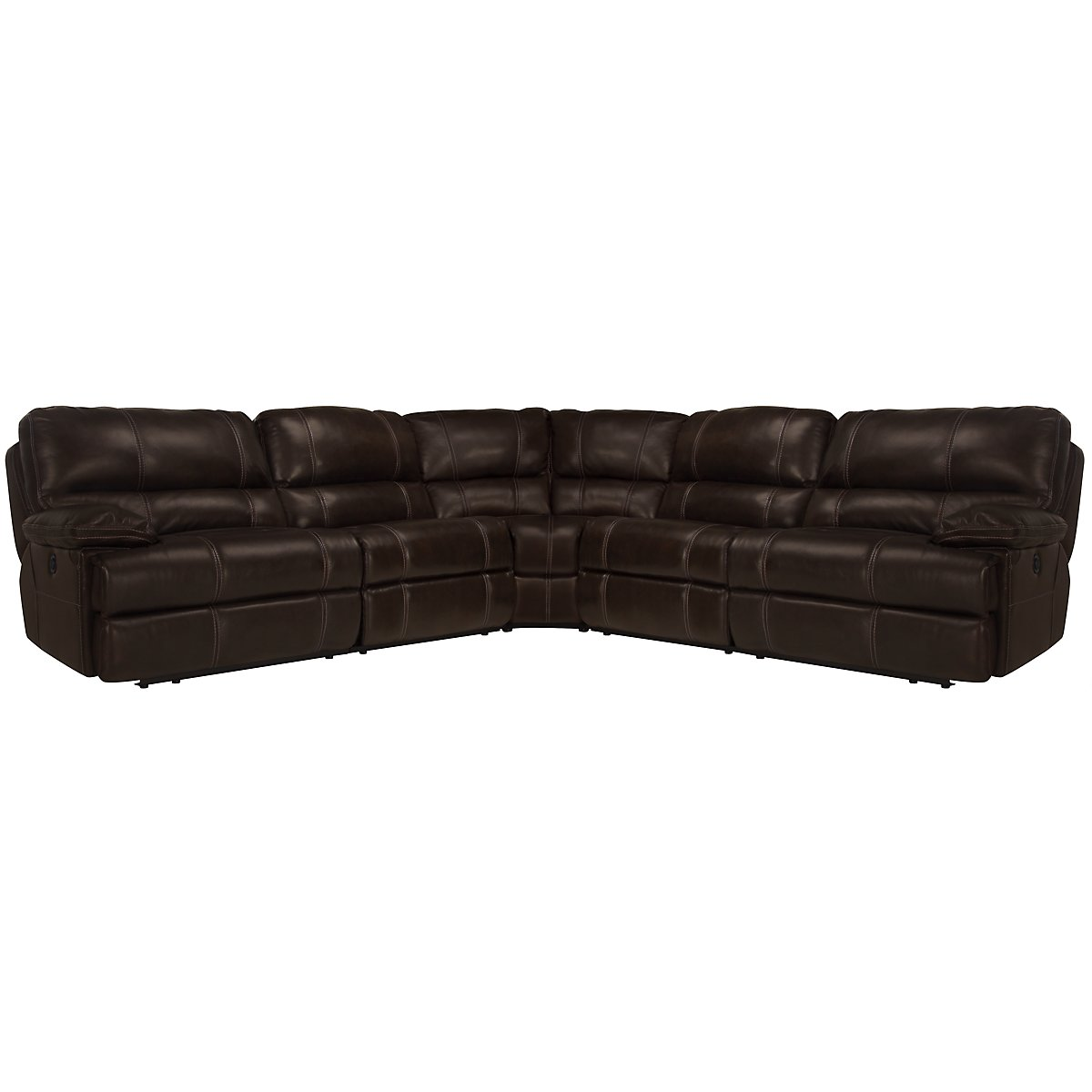 Alton2 Dark Brown Leather & Vinyl Small Two-Arm Manually Reclining Sectional