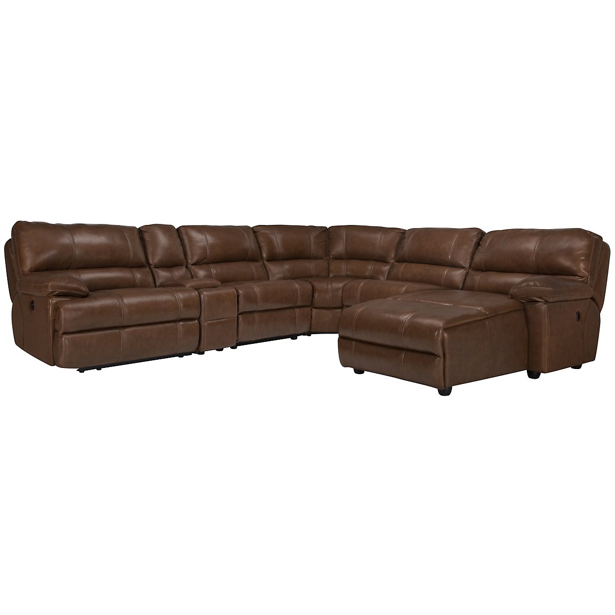 Alton2 Medium Brown Leather & Vinyl Right Chaise Manually Reclining Sectional