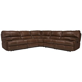Alton2 Medium Brown Leather & Vinyl Small Two-Arm Manually Reclining Sectional