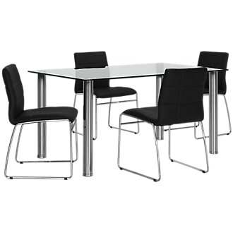 Napoli Black Rectangular Table & 4 Upholstered Chairs