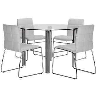 Napoli White Round Table & 4 Upholstered Chairs