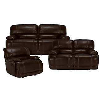 Benson Dk Brown Leather & Vinyl Manually Reclining Living Room