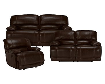 Benson Dark Brown Leather & Vinyl Power Reclining Living Room