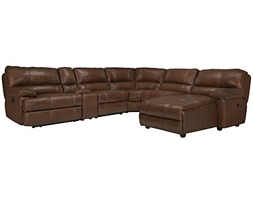 Alton2 Medium Brown Leather & Vinyl Right Chaise Power Reclining Sectional
