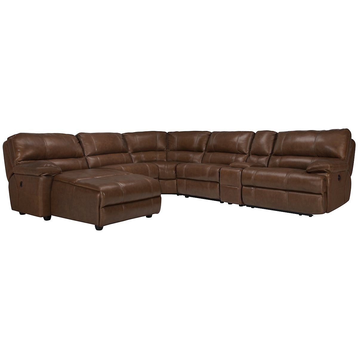 Alton2 Md Brown Leather & Vinyl Left Chaise Power Reclining Sectional