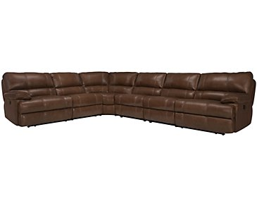 Alton2 Medium Brown Leather & Vinyl Large Two-Arm Manually Reclining Sectional