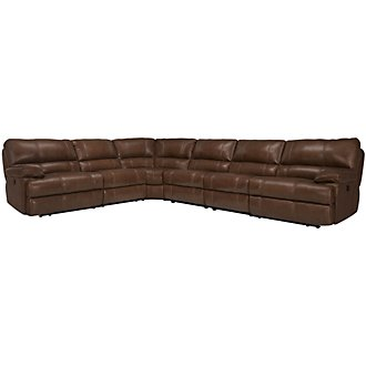 Alton2 Medium Brown Leather & Vinyl Large Two-Arm Power Reclining Sectional