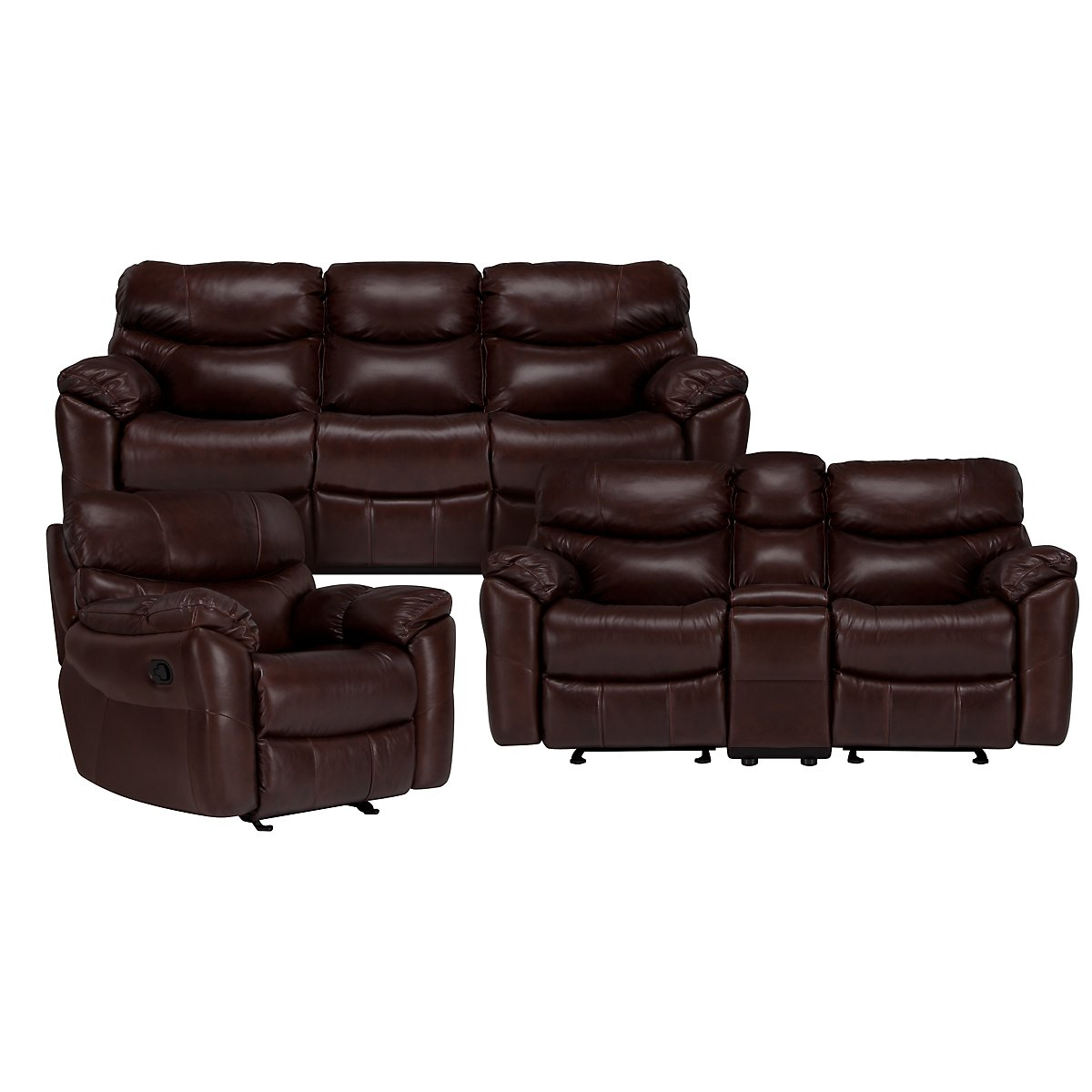 Derek Dark Brown Leather & Vinyl Power Reclining Living Room