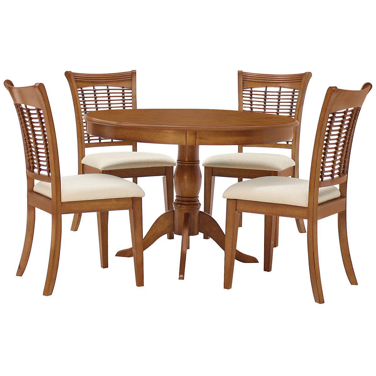 Bayberry mid tone round table 4 chairs for Round dining table set for 4