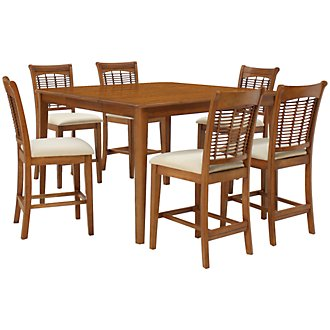 Bayberry Mid Tone High Table & 4 Barstools