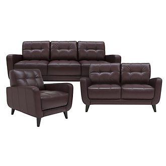 Venus Dk Brown Leather Living Room