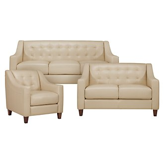 Elise Lt Taupe Leather Living Room