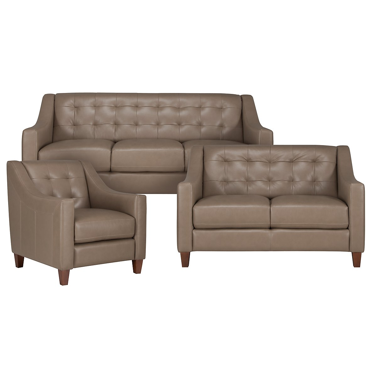 Elise Pewter Leather Living Room