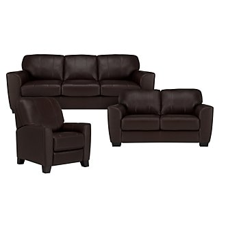 Fallon Dk Brown Leather & Vinyl Living Room