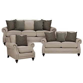 Chelsy Pewter Microfiber Living Room