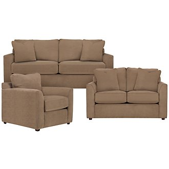 Express3 Lt Brown Microfiber Living Room