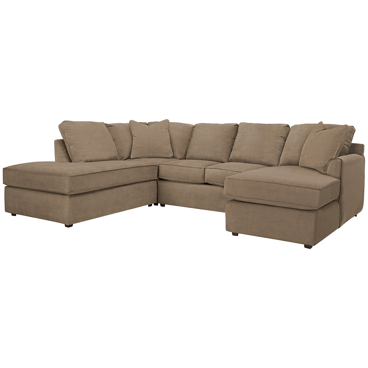 Express3 Light Brown Microfiber Small Left Bumper Sectional