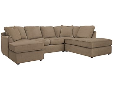 Express3 Light Brown Microfiber Small Right Bumper Sectional