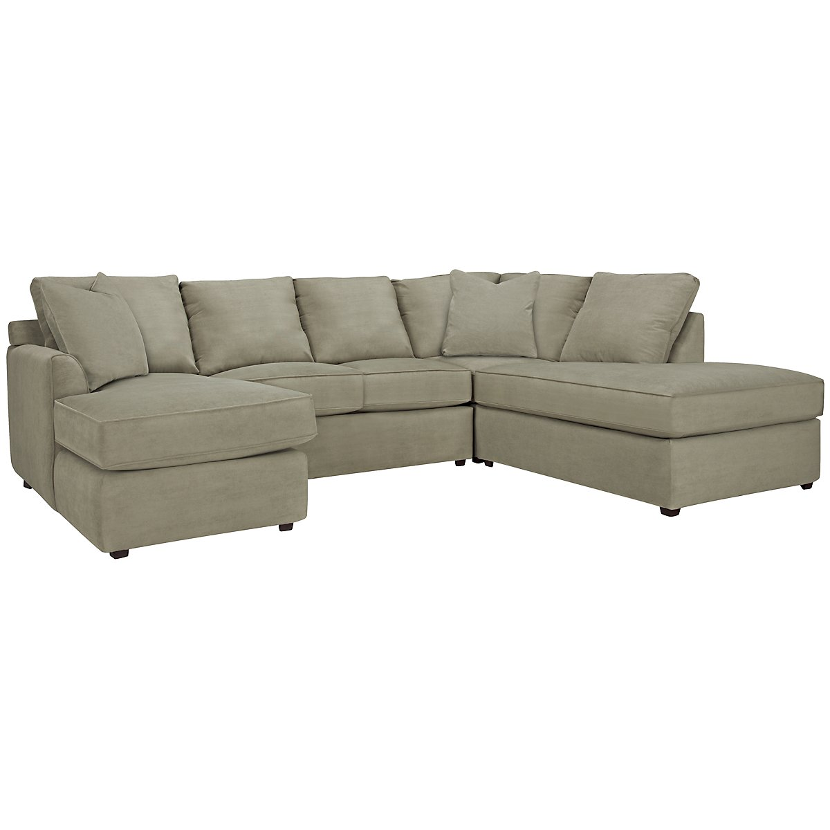 Express3 Light Green Microfiber Small Right Bumper Sectional