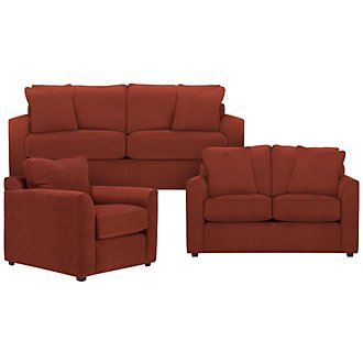 Product Image: Express3 Red Microfiber Living Room