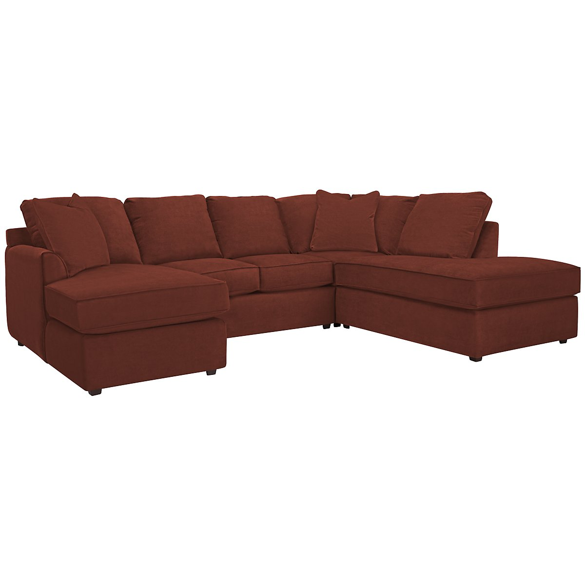 Express3 Red Microfiber Small Right Bumper Sectional
