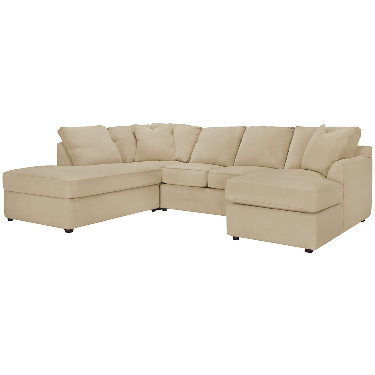 Express3 Light Beige Microfiber Small Left Bumper Sectional