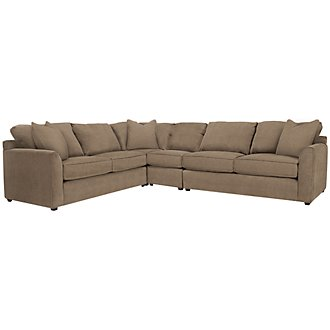 Product Image: Express3 Lt Brown Microfiber Large Two-Arm Sectional