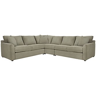 Product Image: Express3 Lt Green Microfiber Large Two-Arm Sectional