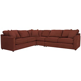 Product Image: Express3 Red Microfiber Large Two-Arm Sectional