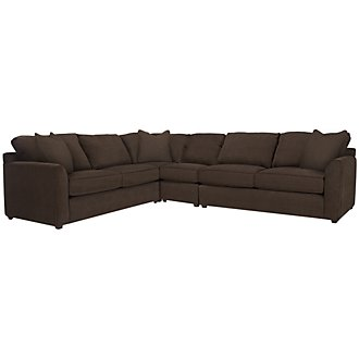 Product Image: Express3 Dk Brown Microfiber Large Two-Arm Sectional