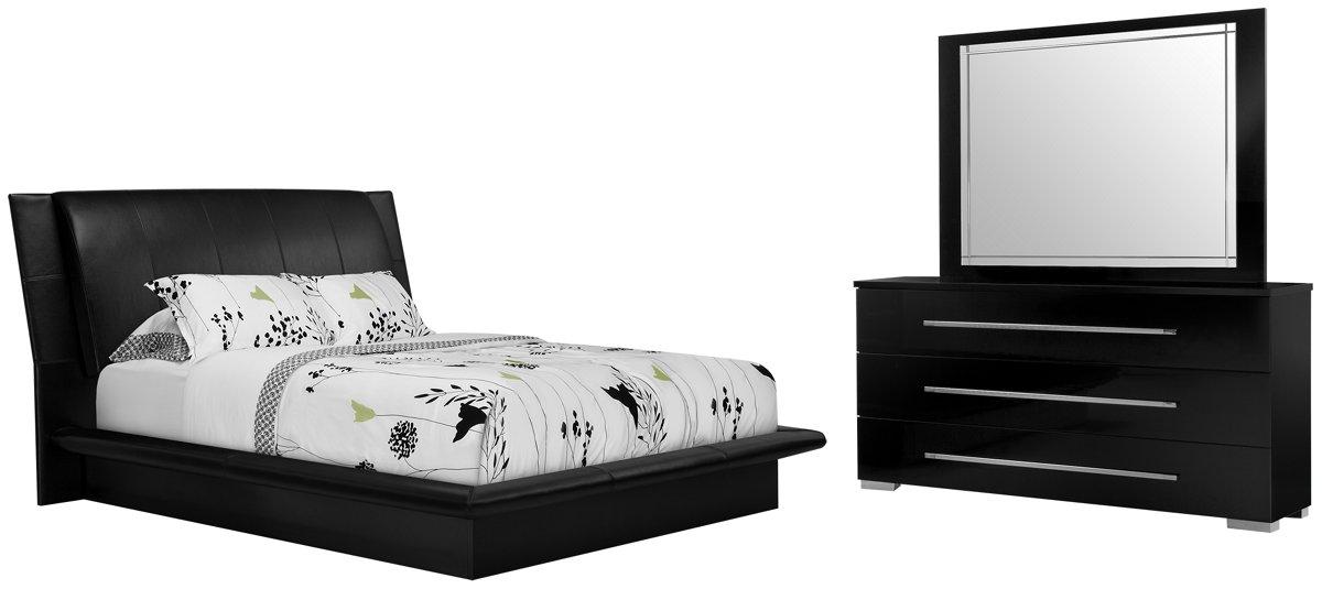 dimora black upholsterd platform bedroom