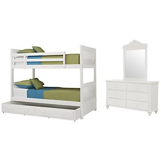 Lauren White Bunk Bed Trundle Bedroom
