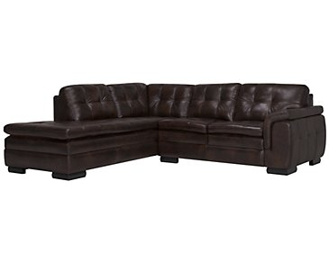 Trevor Dark Brown Leather Small Left Bumper Sectional
