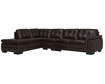 Trevor Dark Brown Leather Large Left Bumper Sectional