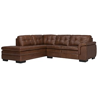 Trevor Md Brown Leather Small Left Bumper Sectional