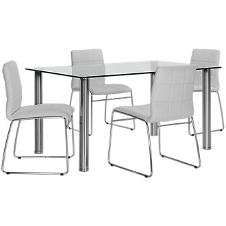 Napoli White Rectangular Table & 4 Upholstered Chairs