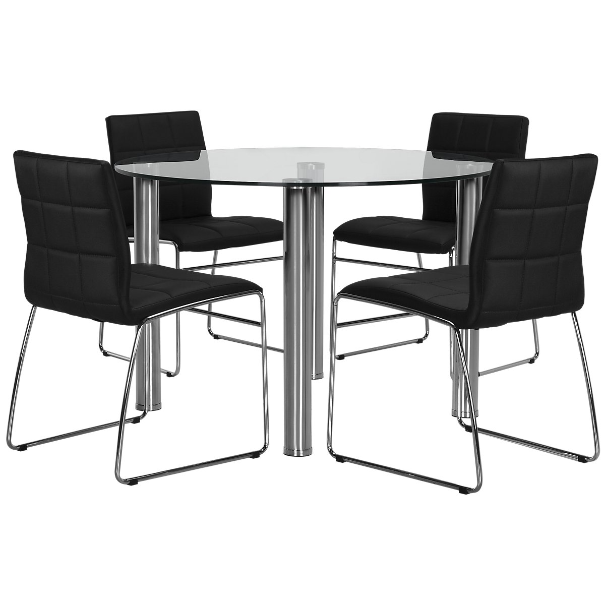 Tables N Chairs: Napoli Black Round Table & 4 Chairs