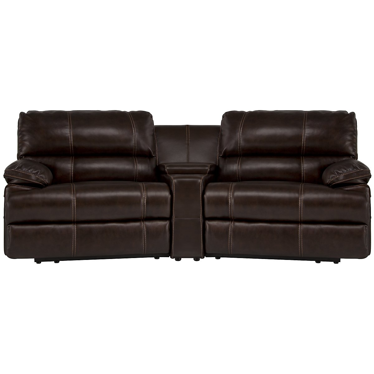 Alton2 Dark Brown Leather & Vinyl Small Manually Reclining Home Theater Sectional