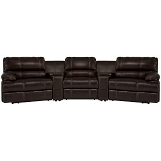 Alton2 Dark Brown Leather & Vinyl Large Manually Reclining Home Theater Sectional