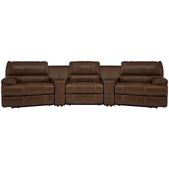 Alton2 Medium Brown Leather & Vinyl Large Manually Reclining Home Theater Sectional