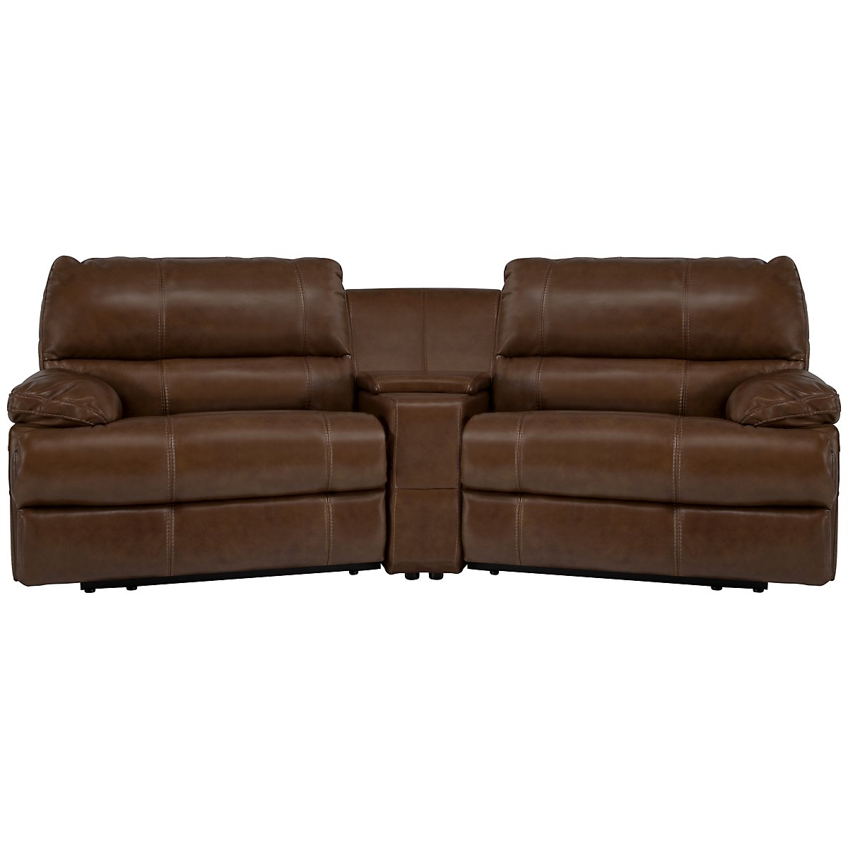 Alton2 Medium Brown Leather & Vinyl Small Power Reclining Home Theater Sectional